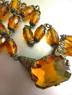 Art Deco CZECH Amber Glass Necklace Filigree by RenaissanceFair