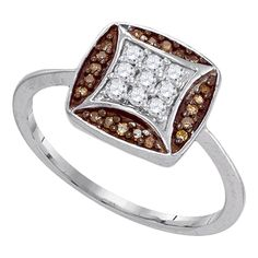 Carat (ctw) White Gold Round Cut White & Cognac Diamond Ladies Micro Pave Right Hand Ring CT. Crafted in White-gold. Diamond Color / Clarity : H-I & Cognac / Diamond Weight : ct tw. Diamond Promise Rings, Diamond Engagement Rings, Rings Pandora, Finger, Brown Rings, Right Hand Rings, Cluster Ring, Colored Diamonds, White Gold