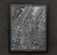 1900S Lithography Map of New York from Restoration Hardware on sale for $1015