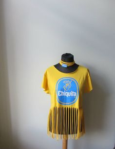 Yellow Chiquita Banana Fringe T Shirt, Upcycled T-Shirt, Festival Fringe Tops, Tropical Fruit Shirt, Recycled Shirts, Carmen Miranda by GarageCoutureClothes on Etsy