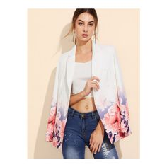 SheIn(sheinside) White Rose Print Double Breasted Blazer ($27) ❤ liked on Polyvore featuring outerwear, jackets, blazers, stretch blazer, white blazers, floral blazer jacket, fitted jacket and floral jacket