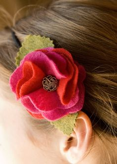 Little Birdie Secrets: ruffled felt rose headband {tutorial} ----- maybe use fleece ?