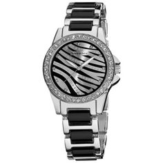 @Overstock - This fashion fun watch features a zebra animal print dial with genuine crystal stones along the bezel and within the dial. The bracelet completes the look with silver outer links and black center links. Accessorize your everyday with this fun timepiece.http://www.overstock.com/Jewelry-Watches/Vernier-Ladies-Fashion-Zebra-Print-Genuine-Crystal-Stones-Bracelet-Watch/7317940/product.html?CID=214117 $34.99