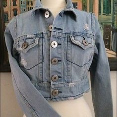 Jean jacket Very soft and Slightly distressed denim jacket! - made that way- Super cute. I always got several compliments the few times I wore this. It is in EXCELLENT condition! Z. Cavaricci Jackets & Coats Jean Jackets