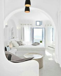Dana Villas Santorini Island Greece. #greece #bedroom #homeinsporation #interior #homeinspo #homeinteriordetails #homedecor #interiordetails #homesweethome #architecture #homeinterior #homedesign #interiordesign #interiordecor #dreamhouse #dreamhome #luxuryhomes #luxurydesign #luxurydecor #homestyle #whitedecor #interior123 #luxury #design #house #santorini #decor #home #bed - Architecture and Home Decor - Bedroom - Bathroom - Kitchen And Living Room Interior Design Decorating Ideas…