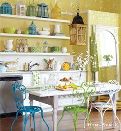 Beautiful and sunny summer kitchen decor.  #white #yellow #blue #green www.HomeSense.ca