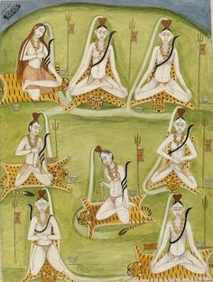 Depicting Shiva Seated in Eight Yogic Postures Murshidabad, India (probably: Murshidabad sub-style, made) Date: late 18th century. Painted in opaque watercolour on paper (via V&A Collections)