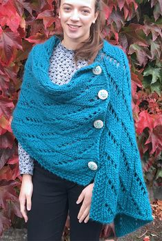 Free Knitting Pattern for Twilleys Wrap - Rectangular shawl knit with a 10 row repeat, with all wrong side rows the same. Quick knit in Super Bulky yarn. Designed by Twilleys. Poncho Knitting Patterns, Shawl Patterns, Knitted Poncho, Knitted Shawls, Knitting Yarn, Free Knitting, Crochet Basics, Knit Or Crochet, Quick Knits
