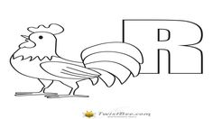 Rooster coloring page with letter r