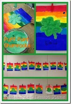 Whooo is ready for St. Patrick's Day Linky Party Art For Kids, Crafts For Kids, Arts And Crafts, Saint Patricks Day Art, Puff Paint, Irish Art, Luck Of The Irish, Arts Ed, Elementary Art
