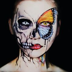 Halloween Make Up Inspirations Trend in 2018 - firstmine Cosplay Makeup, Costume Makeup, Sfx Makeup, Body Makeup, Skull Face Makeup, Half Face Makeup, Face Paint Makeup, Sephora Makeup, Makeup Eyeshadow