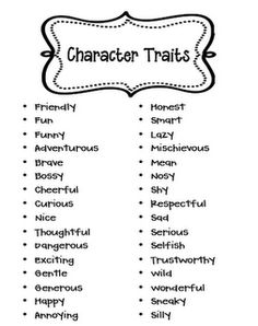 Free Character Trait List for Primary Grades. How might