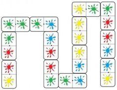 Dominos des couleurs - remplacer un des côtés du domino par l'écriture