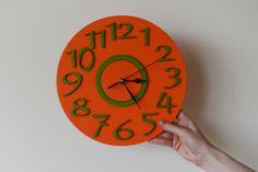 Wall clock Wall decor Orange Green Large by colorTIMEbyLAIRAM, $59.00