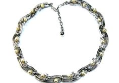 Trifari Pearl and Rhinstone Necklace Signed by EclecticVintager