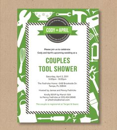 Around the House Couples Wedding Shower Invitation. I Customize, You Print. Digital Printable File - Modern Tools