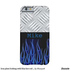 Iron plate looking with blue hot rod flames custom phone case.. don't have a iPhone don't worry, you can pick the device of your choice.
