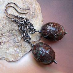 Opal w oksydowanym srebrze vol.2,kolczyki - Maggia-Art - Kolczyki wiszące