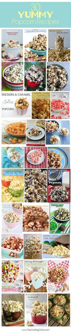 30 Sweet and savory popcorn recipes. A few simple ingredients or a bowlful of ingredients make popcorn into a tasty treat. This is my kind of snack food. Gourmet Popcorn, Popcorn Snacks, Flavored Popcorn, Popcorn Flavours, Popcorn Balls, Pop Popcorn, Yummy Snacks, Yummy Treats, Delicious Desserts