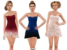 Mini Lace Prom Dress by BluElla - Sims 3 Downloads CC Caboodle