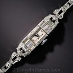 Art Deco Diamond Dress Watch - Art Deco Jewelry - Vintage Jewelry