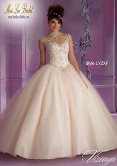 Style LYZXF  Layered Tulle Quinceanera Gown with Embroidery and Beading  Matching Stole. Corset Tie Back. Colors Available: Champagne/Blush, Pucker Up Pink/Mint, White. Sizes Available: 0-24.  Precio : $2.466.750 Pesos Colombianos Precio : $ 1,121.00 Dolares Americanos