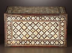 Furniture , AN INDO-PORTUGUESE BONE INLAID BOX . Probably Goa, India, 17thCentury. Unmarked. 8 x 14-1/2 x 9-3/4 inches (20.3 x 36.8 x 2...