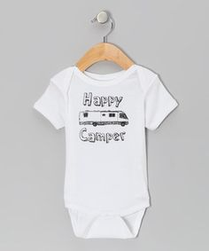 Loving this Little Treetops White 'Happy Camper' Bodysuit - Infant on #zulily! #zulilyfinds