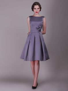 Pleated Skirted dress with Rose Details; Color: Amethyst; Sizes Available: 2-26W, Custom Size; Fabric: Satin