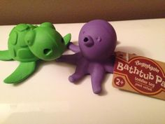 """Bathtub Pals - Sea Turtle & Octopus. Sea creatures star in splashy adventures""""and verbal skills develop""""when kids play with Bathtub Pals. Made from natural rubber, this fun Sea Turtle & Octopus character bubbles when submerged and drains easily after playtime in the bath, beach or pool."""