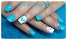 Nails done by Angelique Allegria. #Turquoise #heart #pink #baby #genderReveal #BeUnique @angiedsa