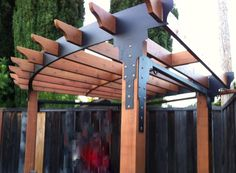 IronByChad.com Custom wrought iron railings, steel gazebos, driveway gates - want something like this for over the outdoor kitchen