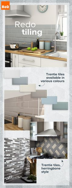 tiles Wall Whether it's re-tiling, refreshing a worktop or adding open shelving you can breathe new life into any kitchen. It's down to the details to complete the look. Kitchen Worktop, Kitchen Wall Tiles, Kitchen Remodel, Kitchen Decor, Kitchen Wall Colors, Kitchen Tiles, Apartment Kitchen, Kitchen Renovation, Kitchen Design
