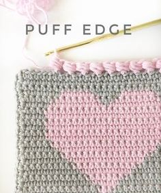 This sweet little crochet puff edge finishes off a heart project perfectly, don't you think? It's a great border for any crochet baby blanket.