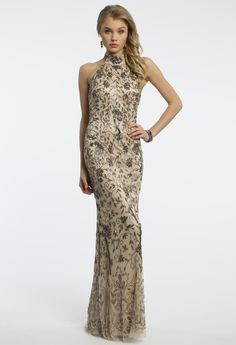 Camille La Vie Beaded Floral Halter Prom Dress