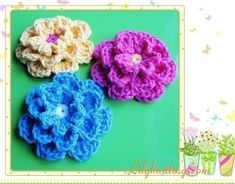 Free Crochet Pattern Crocheted Rosettes / Flowers