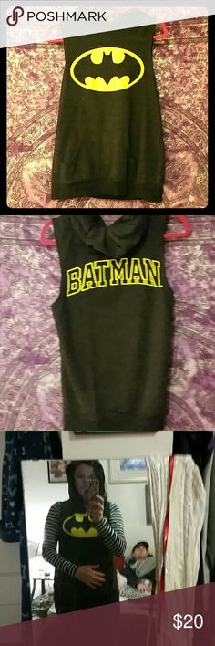 Batman sleeveless hoodie Very cute pictures don't do it justice very soft worn twice great condition Tops Sweatshirts & Hoodies