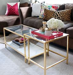 gold leafing on top of gold spray paint - ikea coffee table to match the sofa table I want for living rm - A Little Layer of Gold... (Gold Leaf that is) - the Hunted Interior