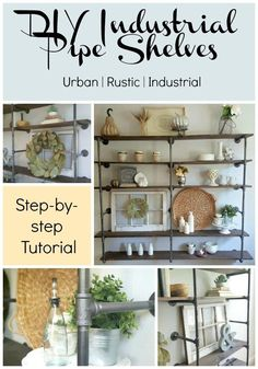 diy industrial pipe shelves for an urban rustic farmhouse look