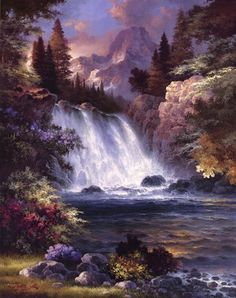 Sunrise Falls, Art Print by James Lee