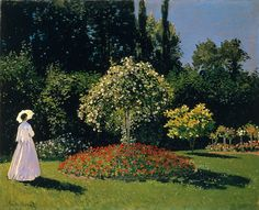 Claude Monet  - Woman in a Garden, 1867, Hermitage, St. Petersburg; a study in the effect of sunlight and shadow on colour