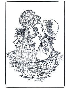 Coloring for adults-kleuren voor volwassenen Coloring Book Pages, Printable Coloring Pages, Coloring Pages For Kids, Vintage Embroidery, Embroidery Patterns, Creation Art, Art Diy, Illustration, Holly Hobbie