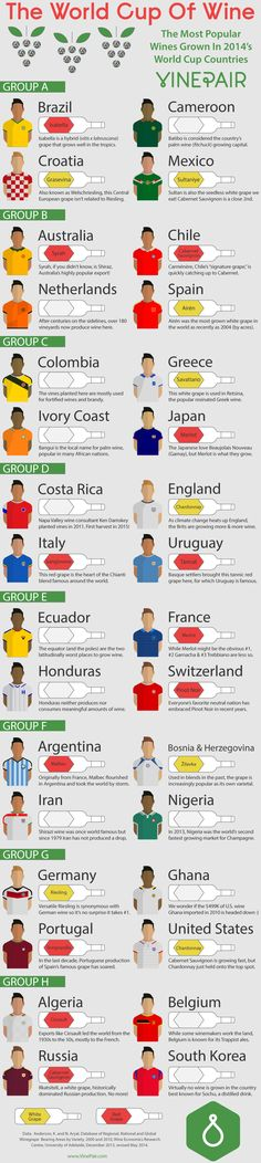 Sure Brazil and Argentina are favored to win the real World Cup, but which grape wins the World Cup of wine? Check out our infographic to see the most popular grape in each World Cup country. You might be surprised...