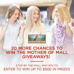 There will be 20 more winners selected to pick their prizes at the mall tomorrow! Come to the former Papaya store (located west of the food court and next to Cotton On) before 11am that day to enter to win up to $500 in awesome gift packages and mall gift cards. The mall will open at 10am for you to start entering! Get there early and be ready for an awesome event  #utah #provo #orem #shopping #giveaway #fashion #style #mothersday #win