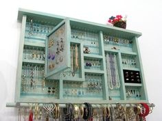Large Dorm Room Jewelry Holder in aqua - March 24 2019 at Jewelry Organizer Drawer, Diy Jewelry Holder, Jewelry Drawer, Jewelry Armoire, Jewellery Storage, Jewellery Display, Earring Holders, Necklace Holder, Jewellery Stand
