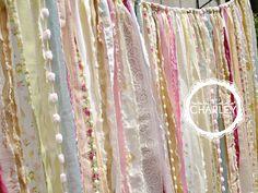 Curtain Backdrop Shabby Rustic Chic Boho Gypsy Fabric Garland - Wedding, Nursery, Dorm, Teen Room, Decor - Glamping Caravan- 4 ft x 7 ft Ribbon Backdrop, Fabric Garland, Fabric Backdrop, Banner Backdrop, Boho Backdrop, Ribbon Curtain, Fabric Banners, Rag Garland, Curtain Room