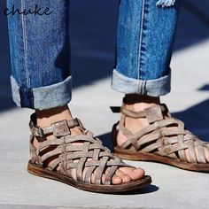 Cheap sandals for, Buy Quality women sandals flat directly from China women sandals Suppliers: Weaving Lace Up Rome Style Leather Women Sandals Flat Hollow Out Beach Ethnic Flange Chunk Sandals For 2017 Summer