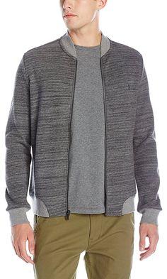 Original Penguin Men's Long Sleeve Double Knit Jacquard Bomber, Dark Shadow, XX-Large Best Price
