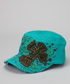 Take a look at this Teal Cross Hat - Women by Ready Set Sparkle Couture on #zulily today!