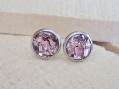 Blush Glass Glitter Stud Earrings  jewelry by sewwhimsycreations